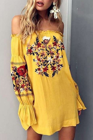 Hot Fashion Floral Printed Off The Shoulder Long Sleeve Beach Holiday Mini Dress
