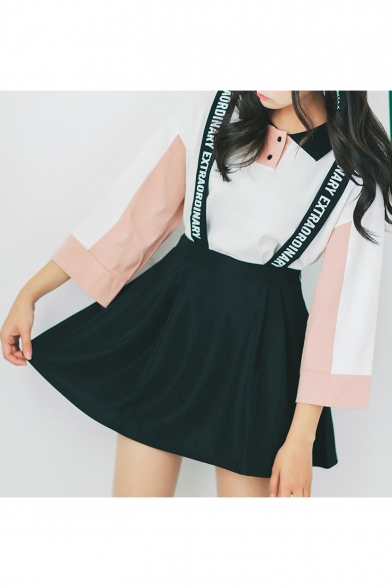 Letter Printed Straps Basic Leisure A-Line Mini Overall Skirt