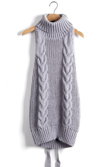 New Arrival Open Back Turtleneck Sleeveless Plain Cable Knit Sweater