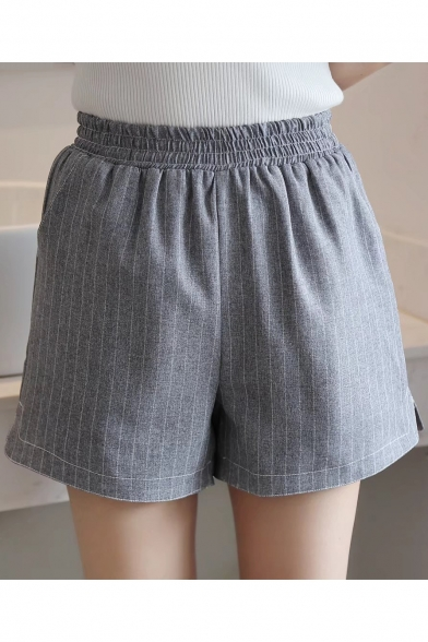 Women's Leisure Elastic Waist Plain Shorts with Pockets ...