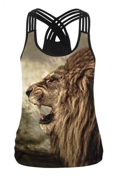 Digital Lion Printed Sleeveless Scoop Neck Sports Tank Tee
