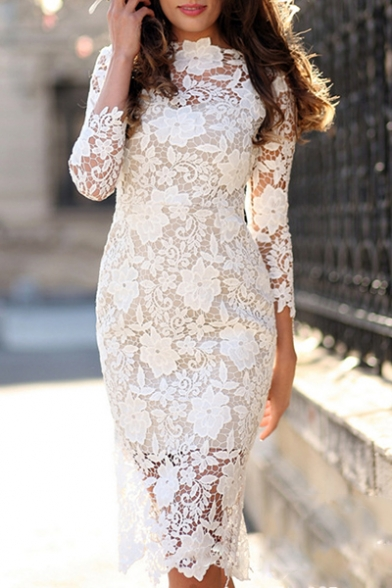 Elegant 3/4 Length Sleeve Round Neck Floral Plain Lace Midi Pencil Dress