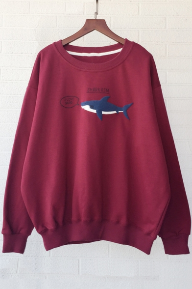 Loose Shark Letter Pattern Long Sleeve Round Neck Pullover Sweatshirt