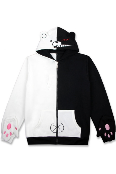 New Arrival Cartoon Printed Long Sleeve Zip Placket Color Block Hoodie with Gloves