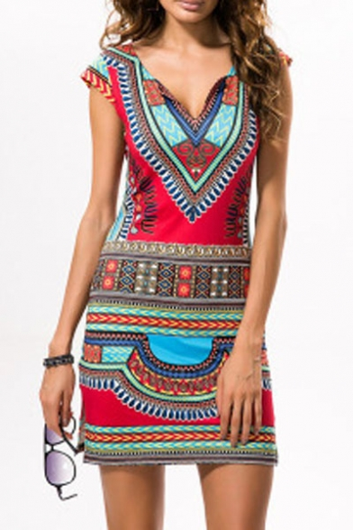 Neck Printed Tribal Dress Sleeve Summer's V Bodycon Mini Cap HxZ5ATgq