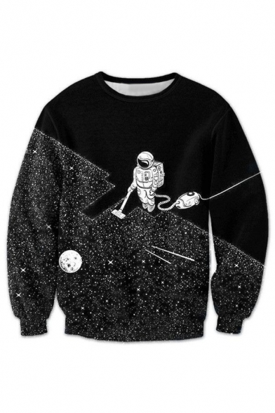 3D Astronaut Printed Round Neck Long Sleeve Pullover Sweatshirt