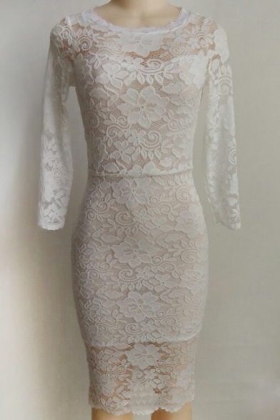 Elegant 3/4 Length Sleeve Round Neck Floral Plain Lace Midi Pencil Dress