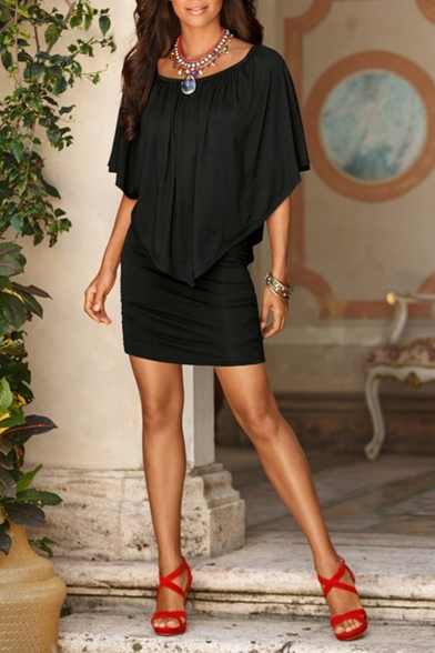 Glamorous Sexy Off the Shoulder Batwing Half Sleeve Plain Mini Bodycon Dress