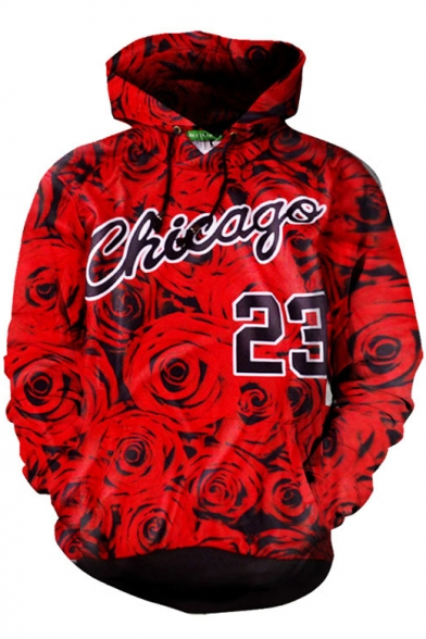 Letter Rose Printed Long Sleeve Hot Fashion Leisure Sports Hoodie