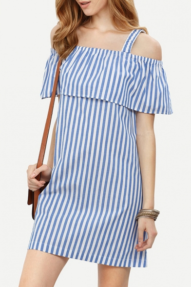 New Stylish Cold Shoulder Ruffle Front Striped Mini Shift Dress