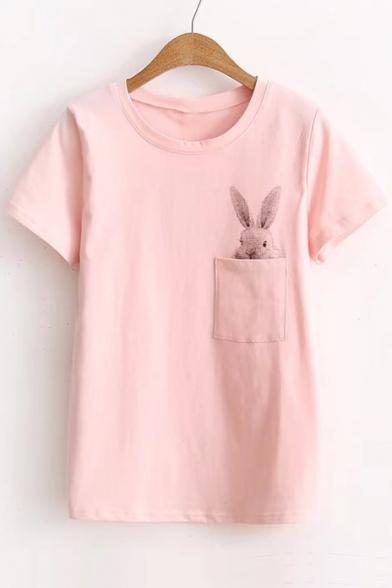 Cute Rabbit Printed Pocket Short Sleeve Round Neck