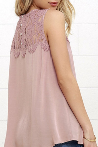 Hot Fashion Lace Patched Round Neck Sleeveless Plain Chiffon Blouse