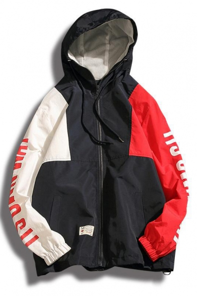 Letter Long Hooded Zip Printed Oversize Coat Placket Sleeve Color Block rXqTtXf