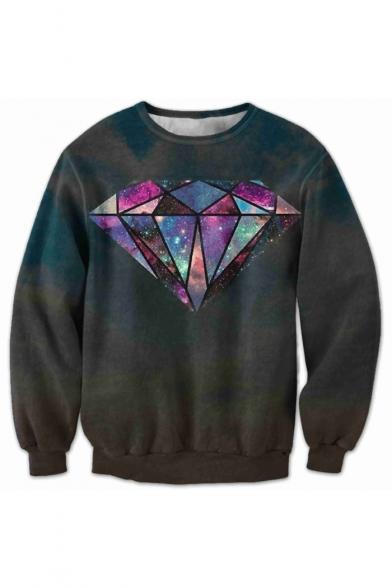 New Arrival 3D Diamond Printed Long Sleeve Round Neck Pullover Sweatshirt