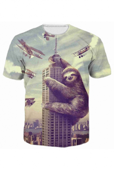 New Fashion 3D Cartoon Printed Round Neck Short Sleeve Pullover Tee