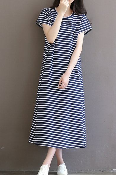 98ef6bc8137 Retro Striped Print Round Neck Short Sleeve Cotton Maxi Leisure T-Shirt  Dress
