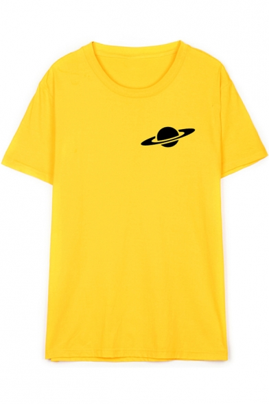 The Earth Orbit Pattern Round Neck Short Sleeve Pullover Cotton T-Shirt