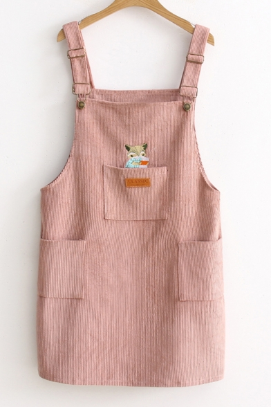 Cartoon Fox Embroidered Corduroy Mini Overall Dress with Pockets