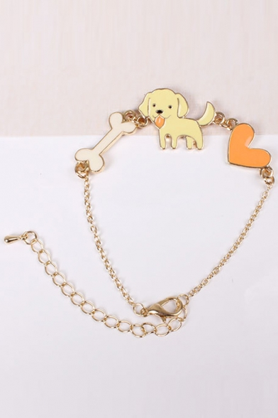 Cute Bone Dog Heart Shape Bracelet
