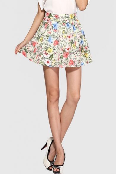 floral printed summers leisure chiffon aline mini skirt