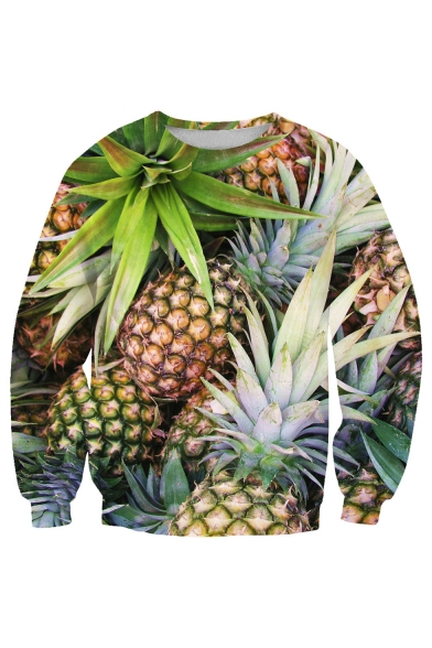 Pineapple Sleeve Fashion Hot Neck Long Loose Printed Sweatshirt 3D Round RBRqEfw