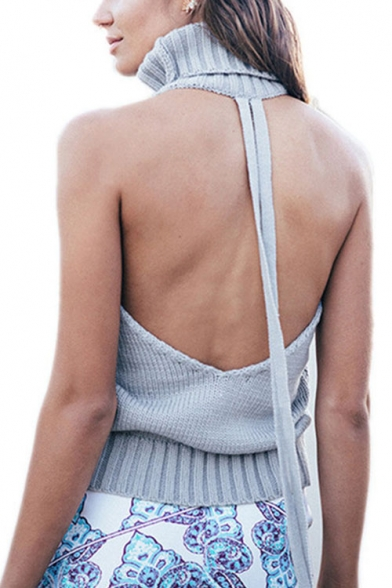 New Arrival Open Back Turtleneck Sleeveless Plain Cable Knit Sweater Tank