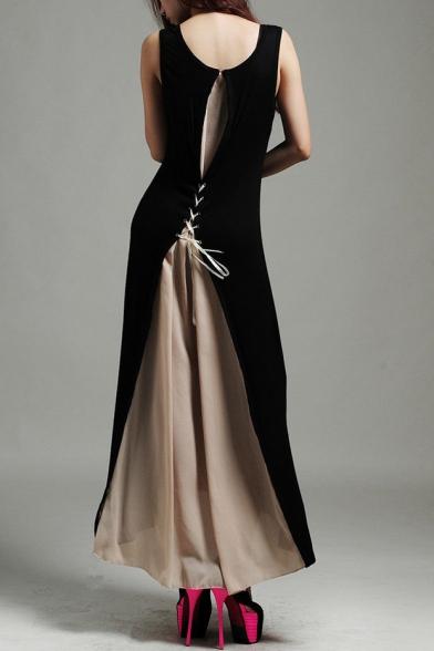 7287b5b658b83 New Stylish Lace Up Back Chiffon Patchwork Color Block Sleeveless Maxi Dress  ...