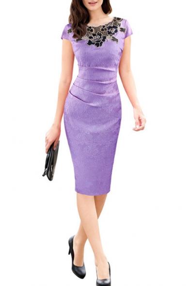 Women's Elegant Short Sleeve Round Neck Lace Midi Pencil Dress
