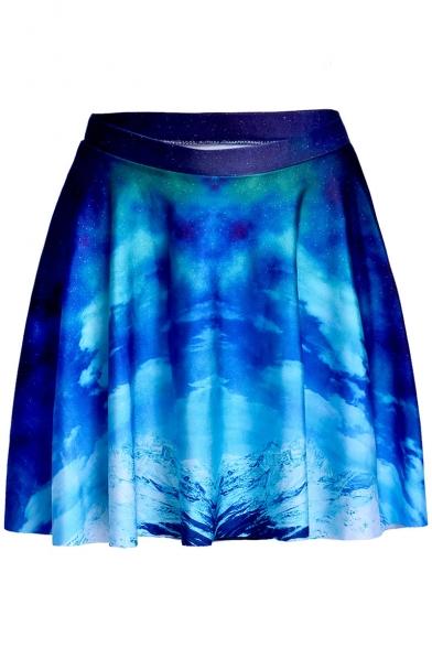 Digital Galaxy Cloud Printed A-Line Mini Pleated Skirt
