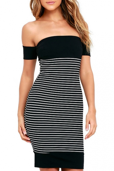 Mini Color Bodycon Dress Block Striped brands with boots