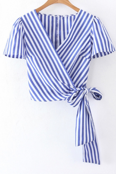 Wrap V Neck Short Sleeve Striped Printed Bow Tie Waist Cropped Blouse