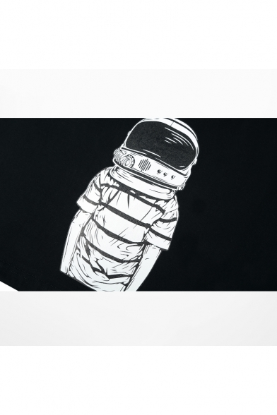 Sleeve Round Tee Oversize Short Cotton Astronaut Neck Pattern Chic pqfwCRn7FI