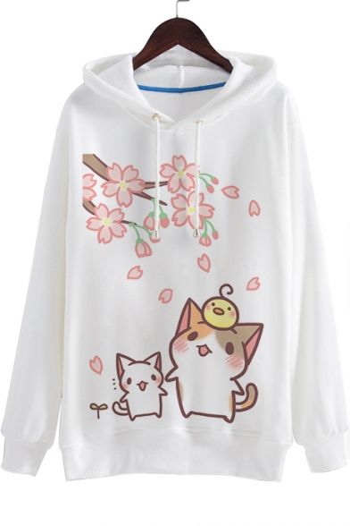 Cartoon Lovely Cat Printed Long Sleeve Loose Leisure Casual Hoodie