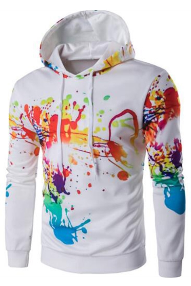 Drawstring Sleeve Long Block Hoodie Hooded Printed Sweatshirt Color rHXqIrwWxO