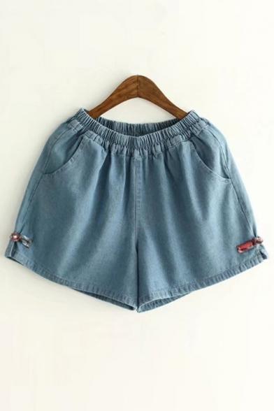 Elastic Waist Bow Decoration Plain Denim Shorts With Slanting