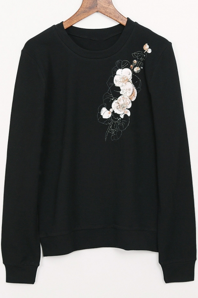 Fashion Floral Printed Round Neck Long Sleeve Pullover Sweatshirt