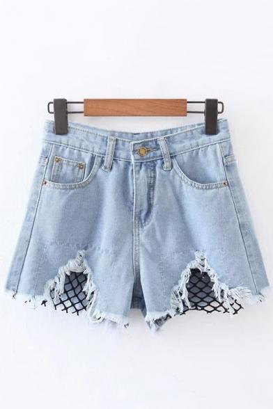 Fashion Net Patchwork Ripped Cutout Hem Mid Waist Denim Shorts