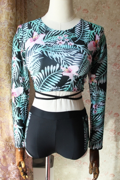 Foliage Printed Round Neck Long Sleeve Crisscross Back High Waist Bottom Swimwear