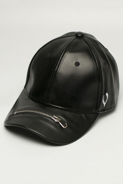 9ee7552597844 V Letter Printed Zip Design PU Hip Hop Style Baseball Cap for Couple -  Beautifulhalo.com