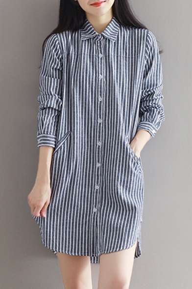e94b071fd177 ... Women's Single Breasted Lapel Long Sleeve High Low High Striped Shirt  Dress with Pockets ...