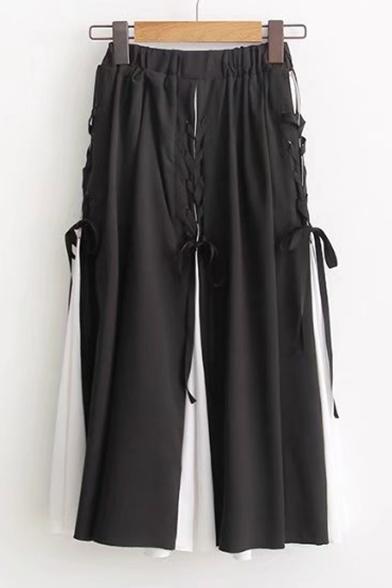 Black&White Color Block Lace-Up Design Elastic Waist Midi A-Line Skirt