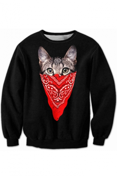 Pattern Neck Sleeve Sweatshirt Cat Round Mask Cartoon Long Fashion zwqSEx
