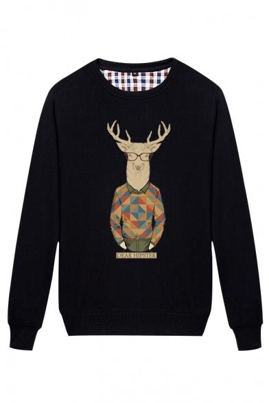 Funny Cartoon Pattern Round Neck Long Sleeve Pullover Loose Leisure Sweatshirt