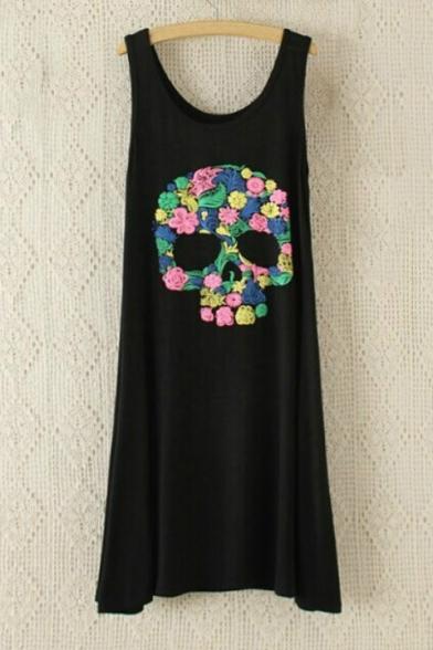 Funny Floral Skull Printed Sleeveless Scoop Neck Midi Tank Dress