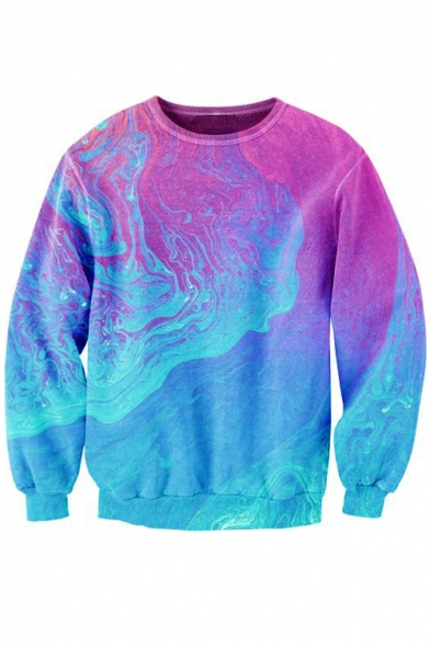 Sweatshirt Neck Sleeve Hot Galaxy Fashion Printed Round Long Pullover Ixqa8R