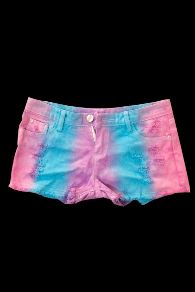 Low Rise Tie Dye Chic Ripped Summer's Hot Pants Denim Shorts