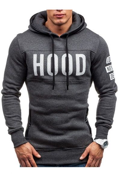 New Arrival Chic Letter Printed Long Sleeve Fitted Hoodie