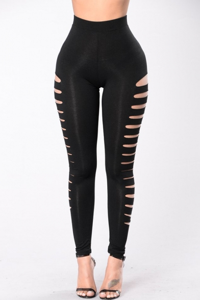 New Arrival High Waist Hollow Out Side Plain Skinny Sports Leggings