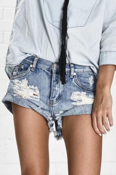 New Arrival Ripped Roll Up Hem Low Waist Plain Denim Shorts