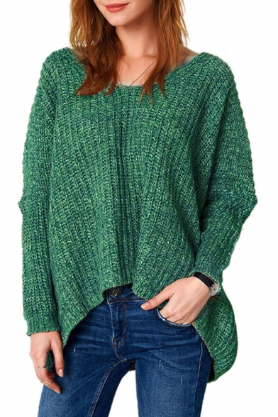 V Neck Long Sleeve Oversize Leisure Plain High Low Pullover Sweater